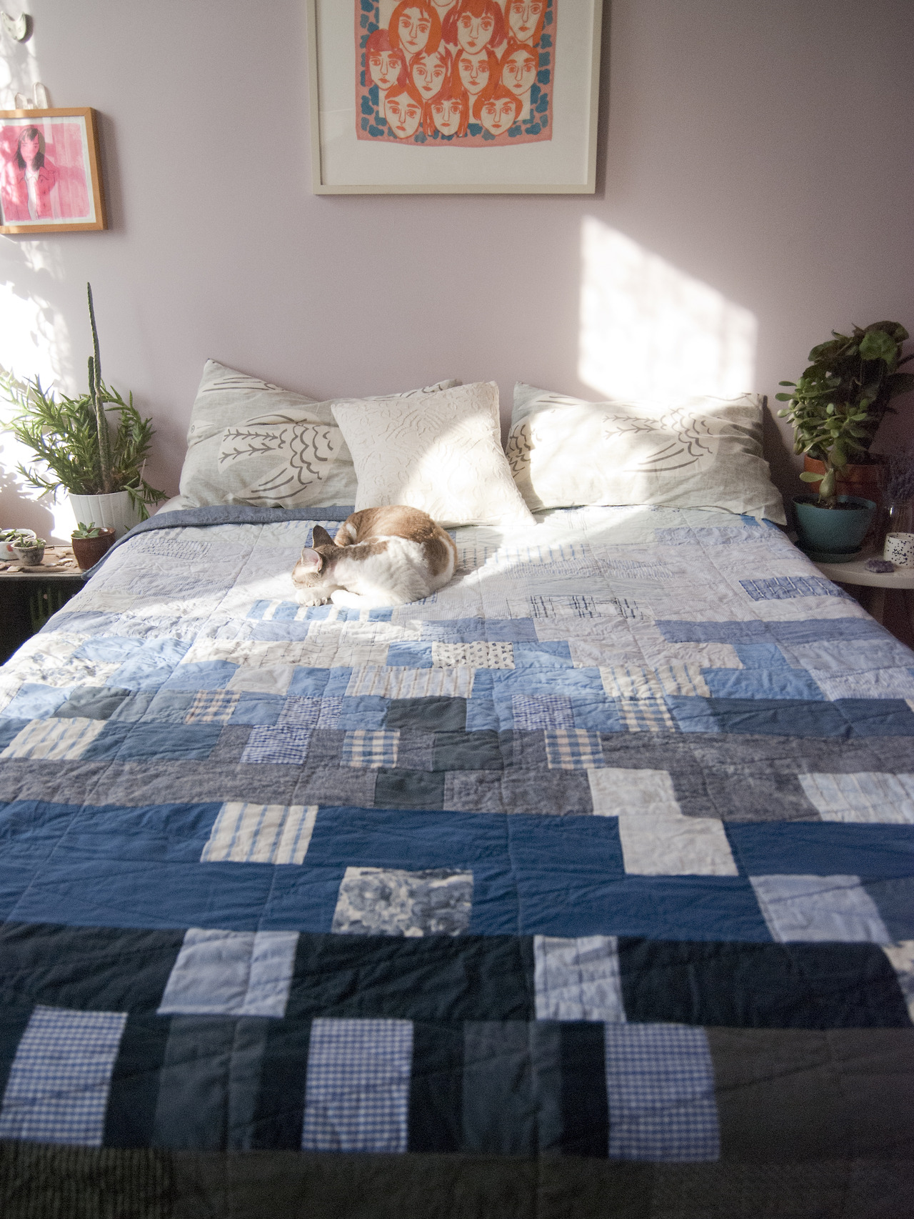 "Denim and blues quilt - 70"" x 82""   Cat modeling by the beautiful  Moses . Thanks to  Leah  for styling!"