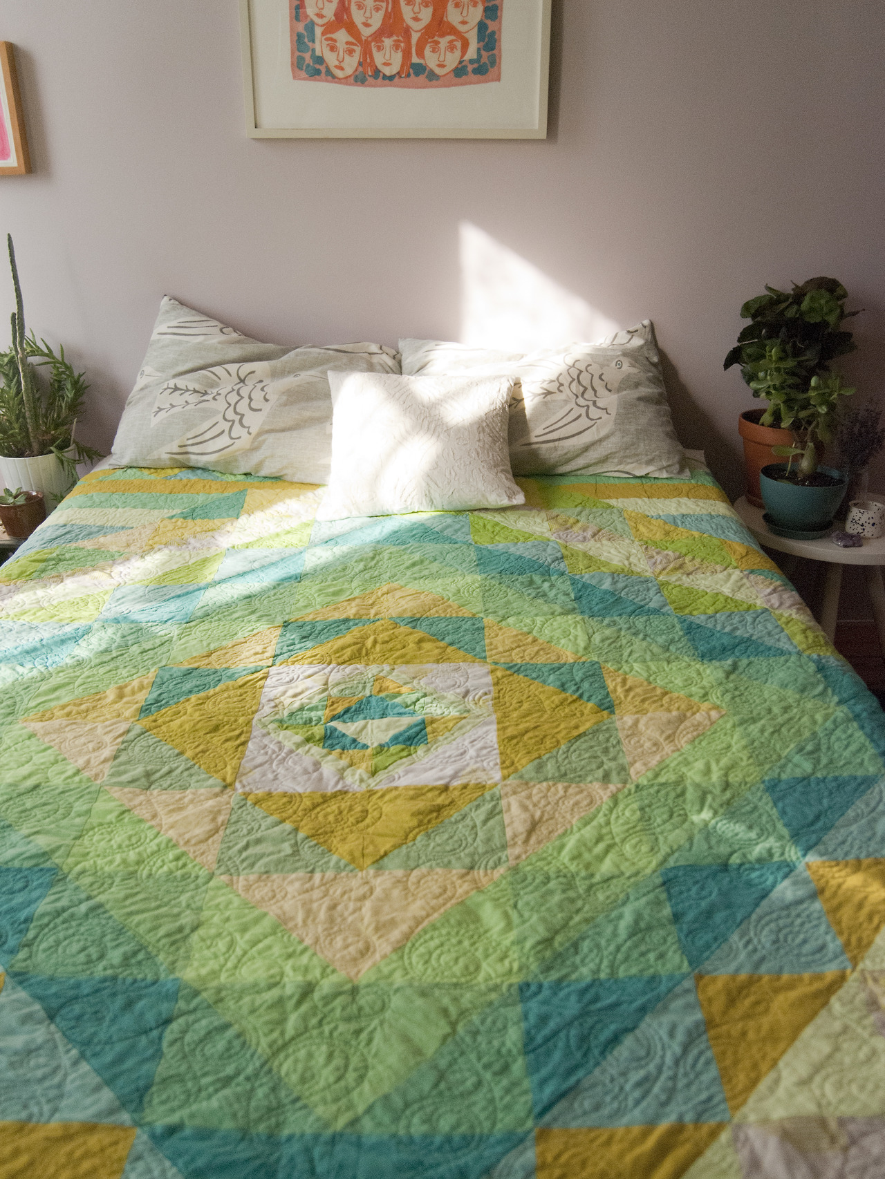 "I hope my quiet this summer hid the flurry of activity taking place behind the scenes. Between trips to Peru for my day job, I kept busy making a small collection of quilts (like this one, 80"" x 80"") and working on a special collaboration with  Leah Goren . The fruits of my labors (of love!) are now in my  shop . Expect a steady stream of pictures for the next few days! I hope you enjoy them. Thanks to Leah for the lush images."