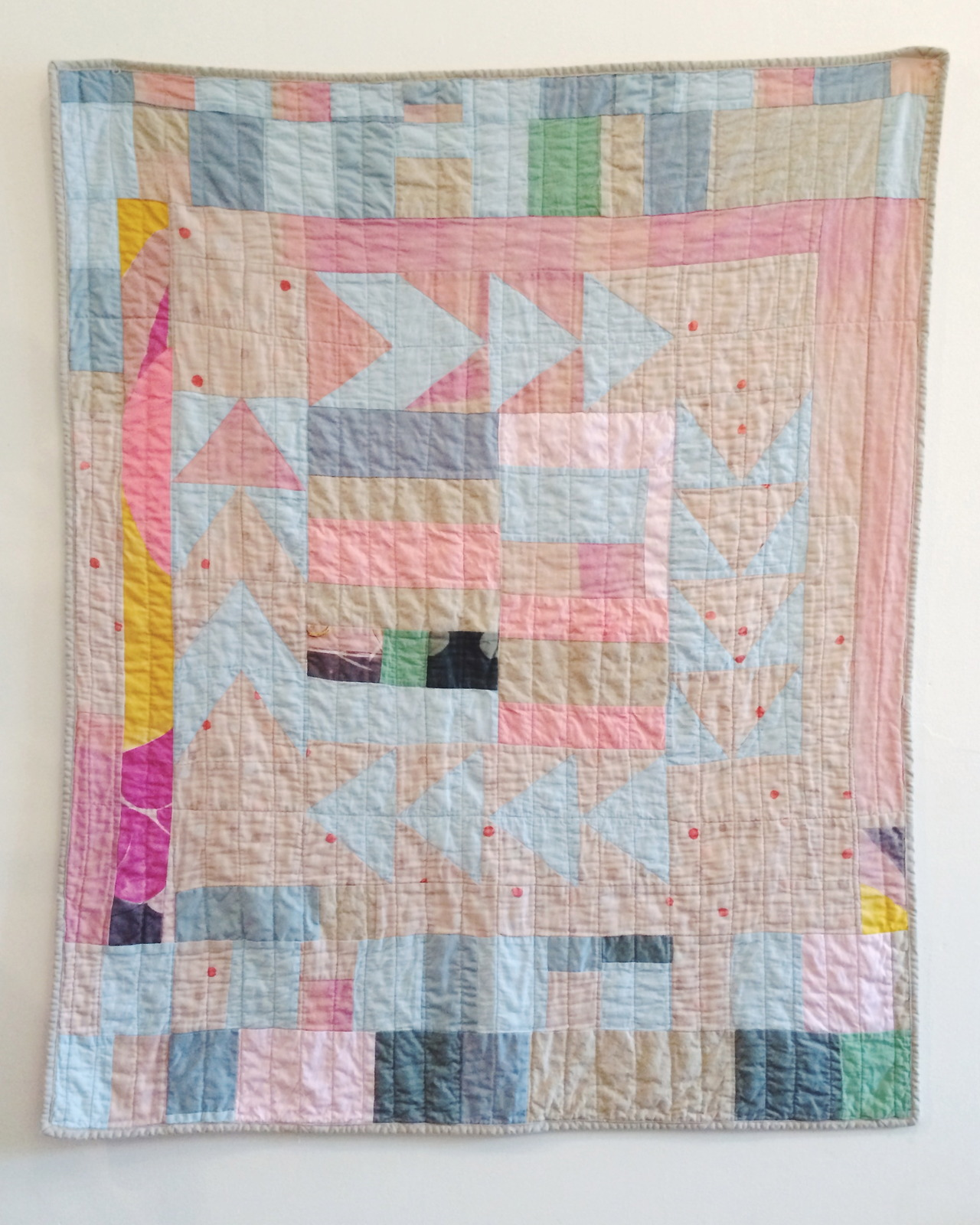 "Around the Corner quilt - 40"" x 50""  here .   The fact that I can't bear to throw away the tiniest of fabric scraps probably proves I'm a dyed in the wool quilter."