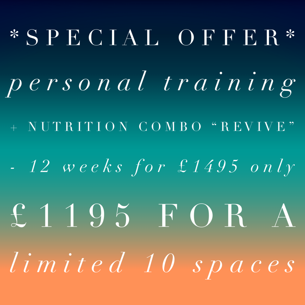 Needing the ultimate in rejuvenation to start 2019?  - Personal training & nutrition programme, 12 weeks£1495 Limited January offer, 10 spaces at £1195http://bit.ly/2QUvqul to sign up12 week bespoke and individualised personal training and nutrition program.