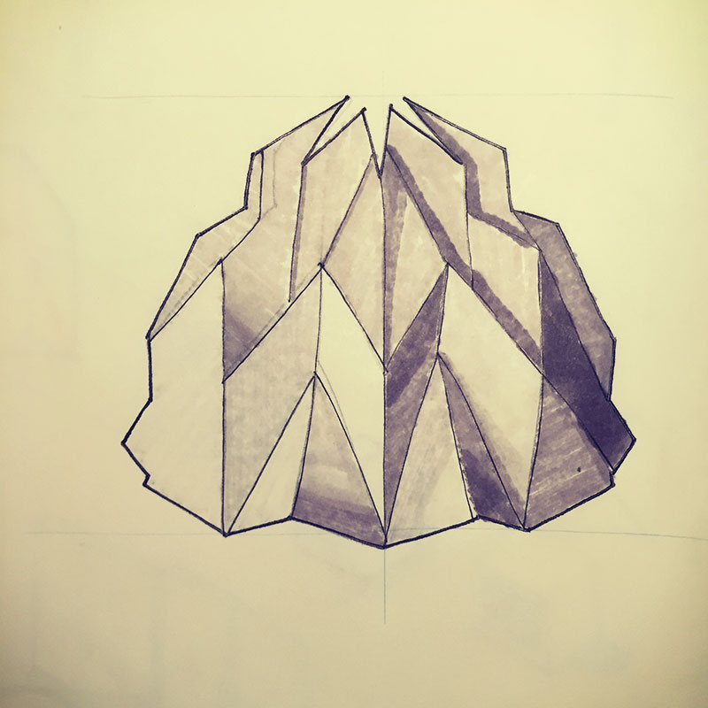 A sketch of an origami inspired lamp that I wanted to make.