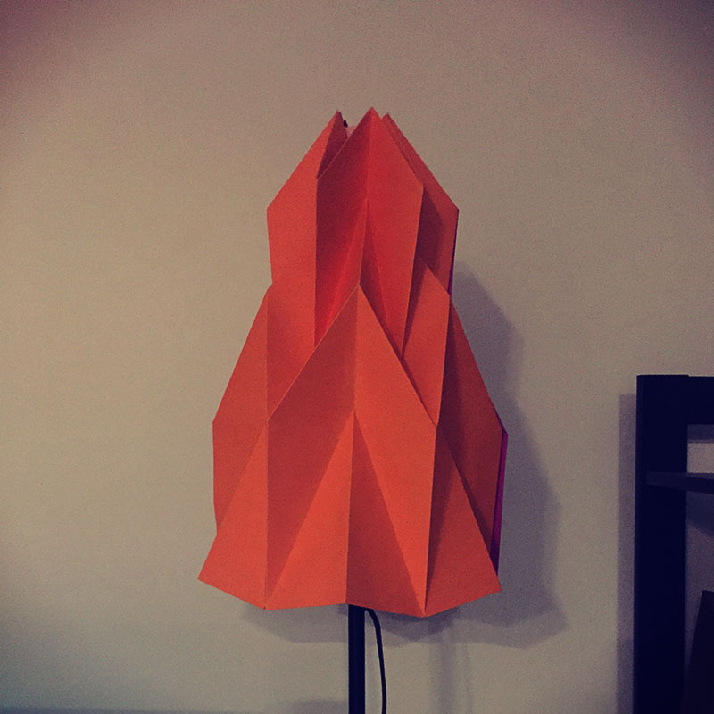 My final paper lamp made out of 18x24 card stock.