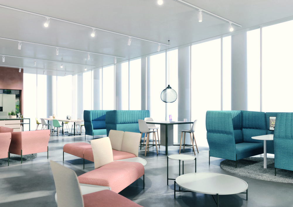 DOLLY PRIVÉ. Un sofá ideal para una reunión informal. Ha sido diseñado para garantizar una buena privacidad acústica gracias a la forma particular del respaldo. Se ha integrado la electrificación en el panel acolchado. Nuevas salas de reuniones | Tendencias Mobiliario de Oficina