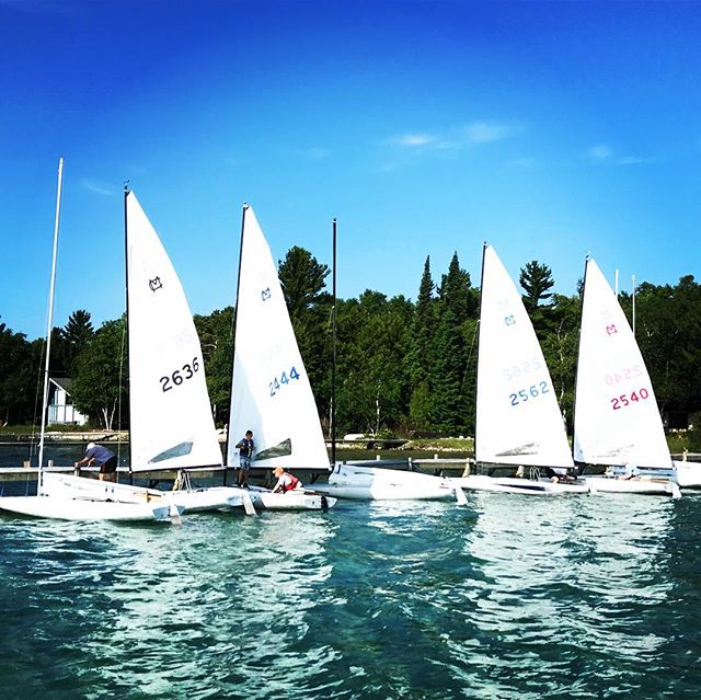 MC fleet getting ready to sail. Beautiful day #upnorthmichigan #mcfleet #melges