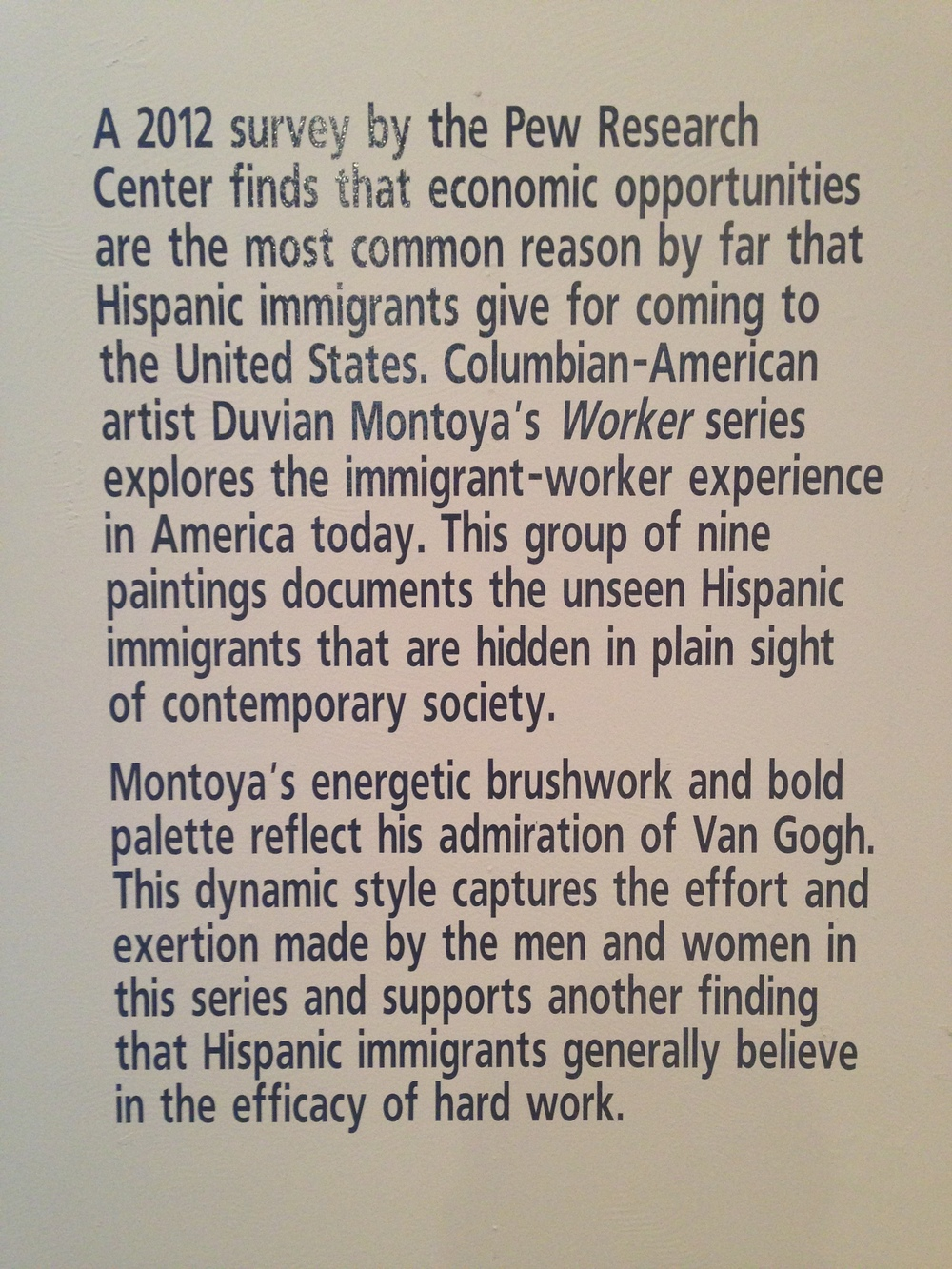 A brief description of my work on the gallery wall