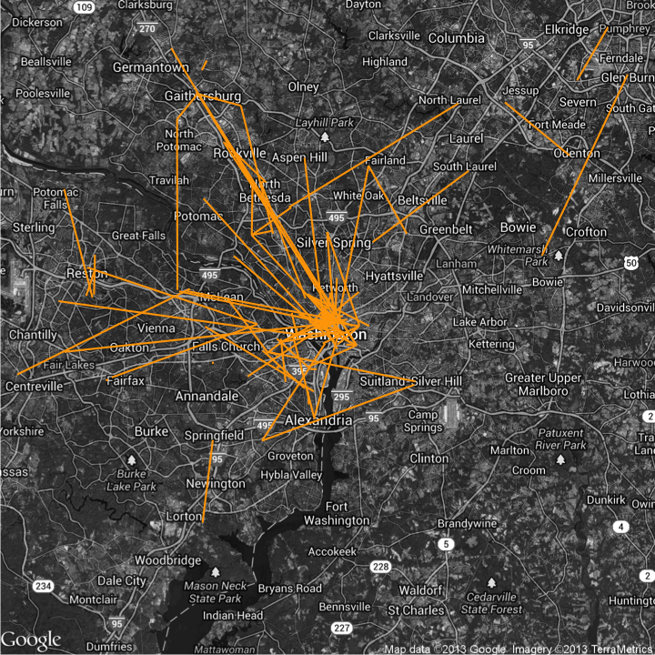 Commutes for data Meetup attendees, based on ZIP codes.