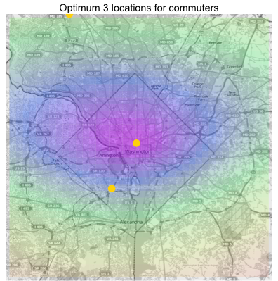 Gold points are optimal locations. Color gradient shows single-location location utility.