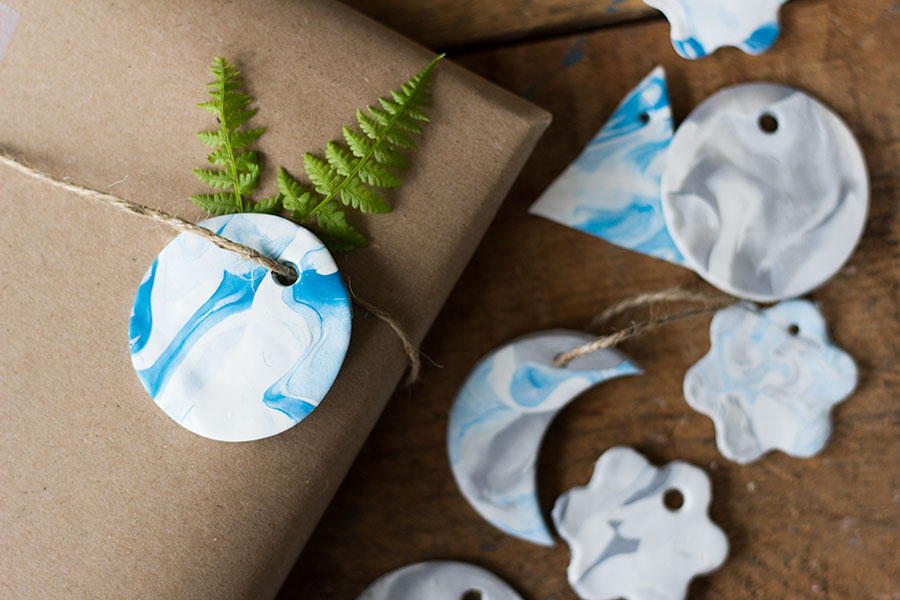 MARBLED CLAY GIFT TAGS