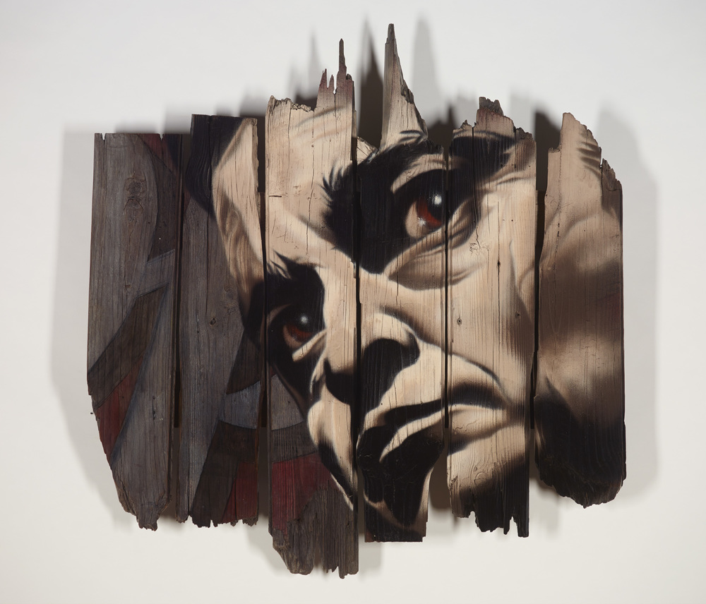 aerosol and acrylic on reclaimed wood  2014