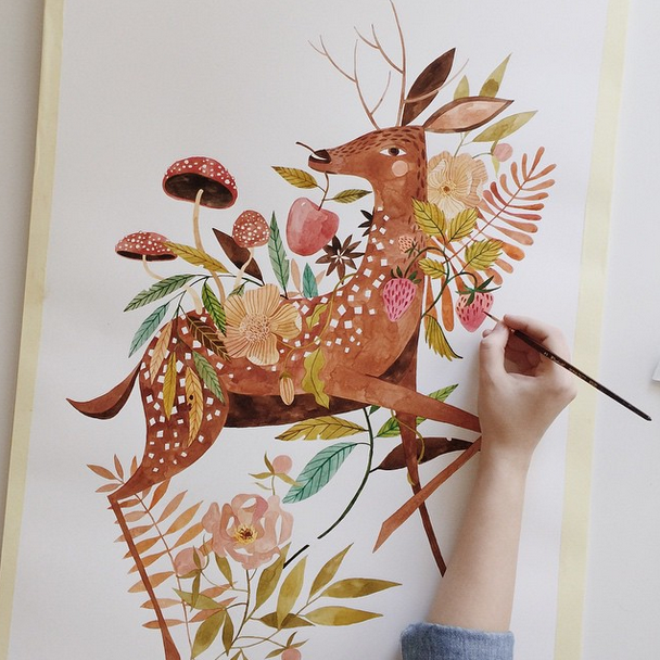 @oanabefort  What can I say about Oana's work? It leaves me speechless every single time. Her skill is beyond incredible as a watercolour artist! Oh, that detail...