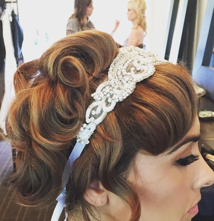 20's inspired bridesmaids hair and makeup.