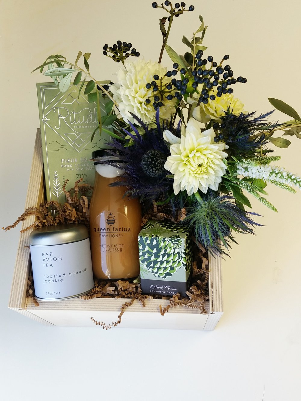 Here at Blooms & Company… - We believe the only way to gift is thoughtfully and beautifully. Share with your clients and colleagues a hand picked gift crate that inspires joy, cheer and Holiday warmth. Create stronger relationships and express your gratitude with a beautiful gift crate. Whether its to be shared at the office, enjoyed at home or to shower one person with love, we've got you covered. Collaborate with our gift designers to create the perfect present that is full of goodies and artfully wrapped and packaged.Delivery is available to make your Holiday load a little lighter and a lot less hectic. Crates starting at $50 ea or individual gifts are available upon request.