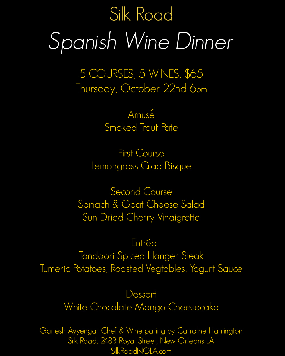 Spanish wine dinner silk road menu 2