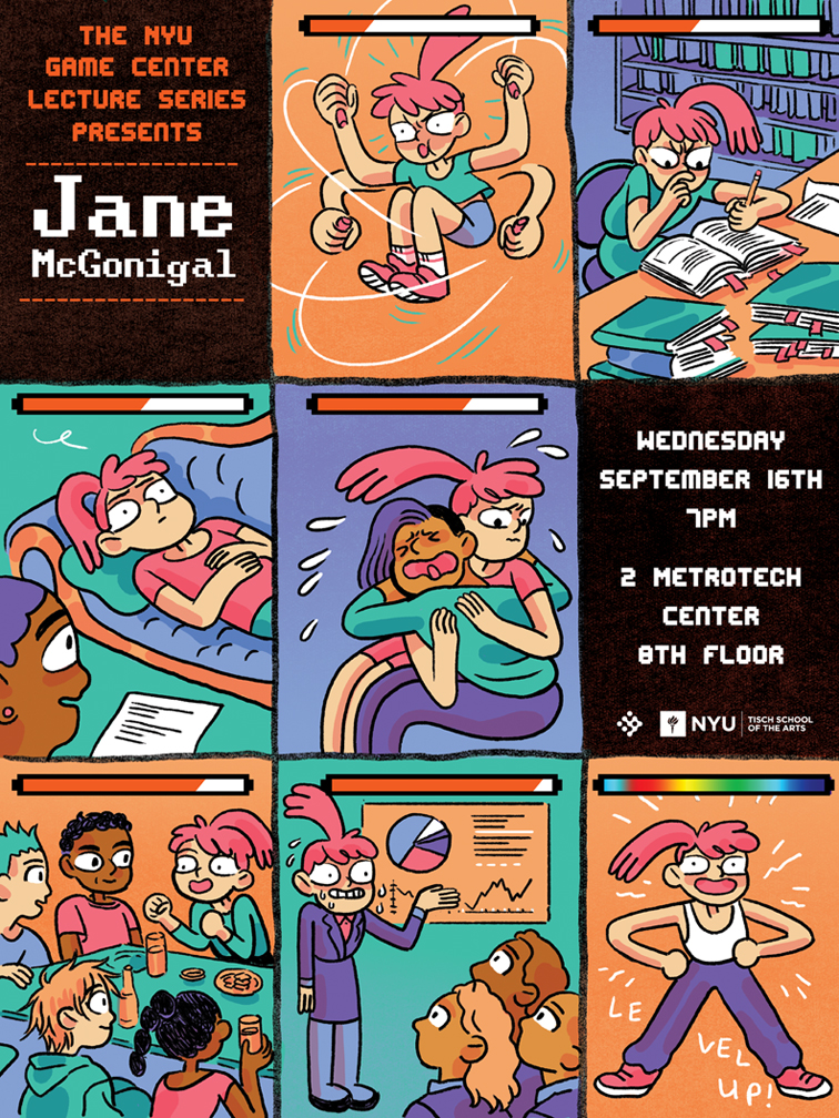 poster advertising Jane McGonigal's lecture at the NYU Game Center