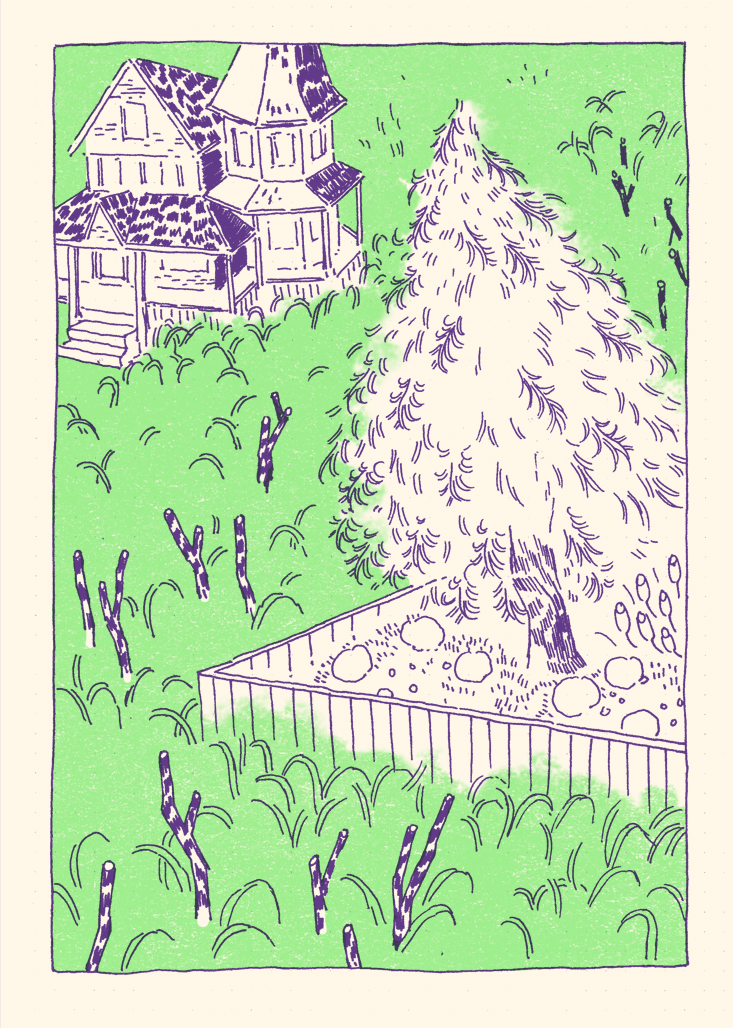 BIBI was drawn in August, 2014 by Kris Mukai. It was riso printed in purple and green ink and is currently out of print.