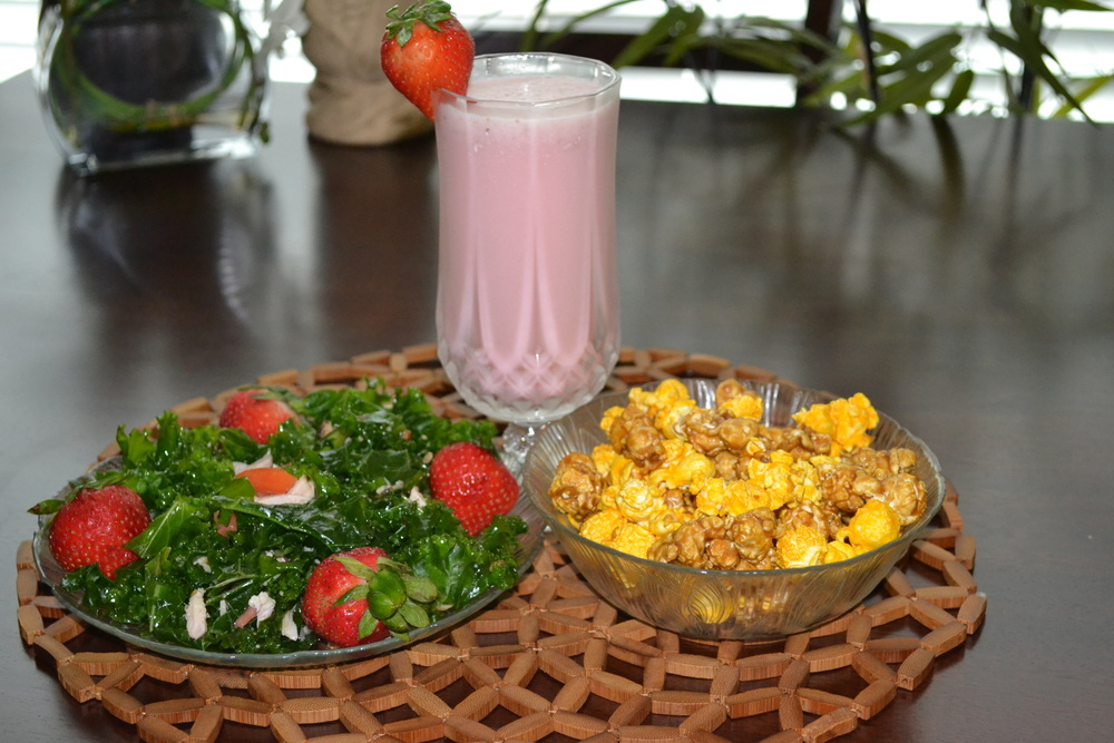 You were so good, eating your super food powered kale and strawberry salad. Now reward yourself with a yummy berry strawberry smoothie and caramel cheddar popcorn.