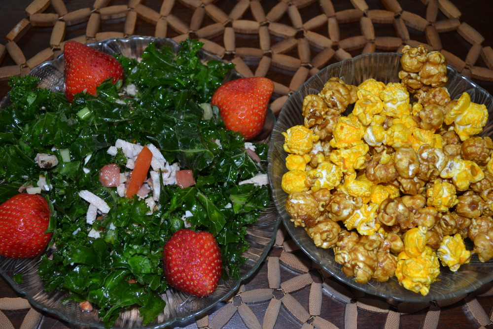 80/20 - Lunch - 80%-Strawberry Kale salad with turkey and chopped almonds; 20%-caramel cheddar popcorn