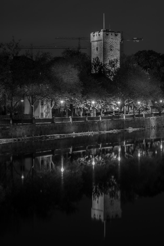 Götzenturm am alten Neckar - Heilbronn bei Nacht