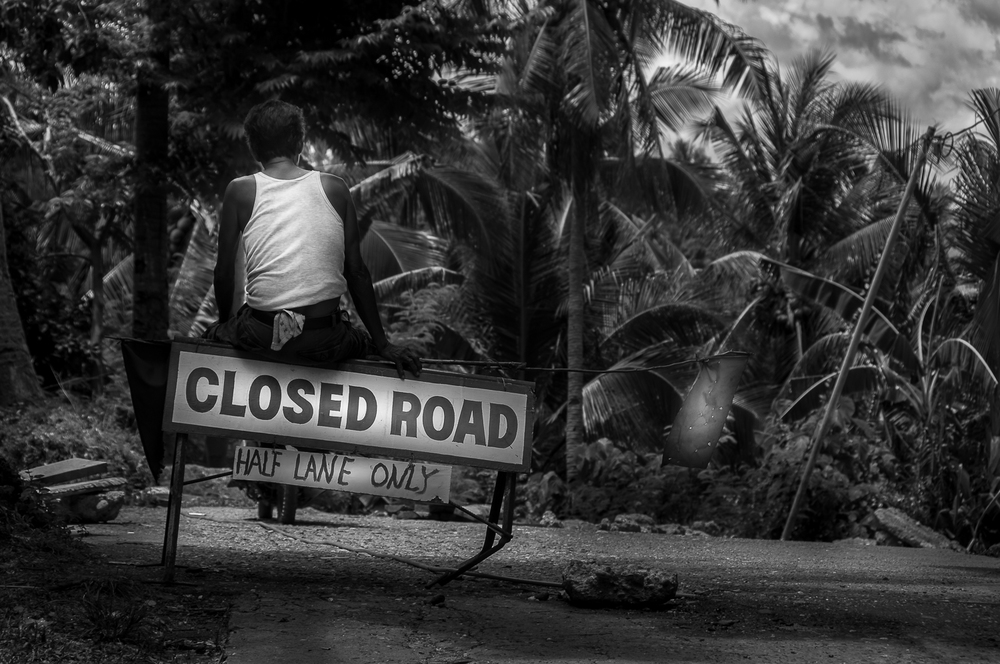 Closed Jungle Road In The Philippines