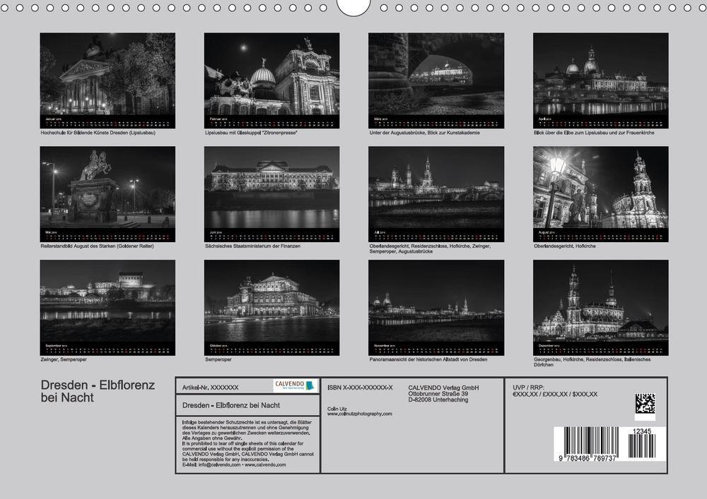 Kalender 2015, Dresden - Elbflorenz bei Nacht - Indexseite