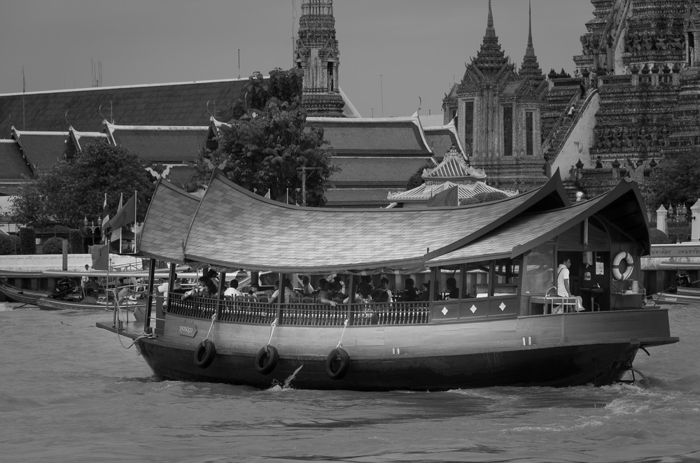 Ancient looking Passenger Ship on the Chao Phraya River - Wat Arun
