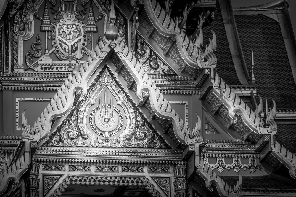 Royal Coat of Arms on the Grand Palace in Bangkok Thailand