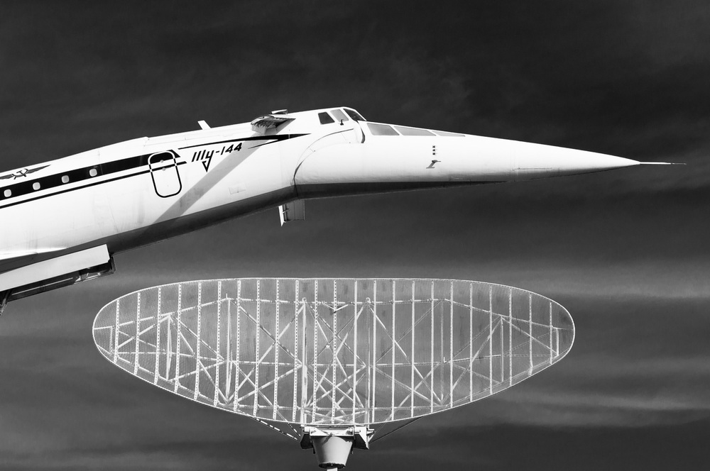 Supersonic airliner Tupolev Tu-144, Illy, Aeoroflot behind a radar dish