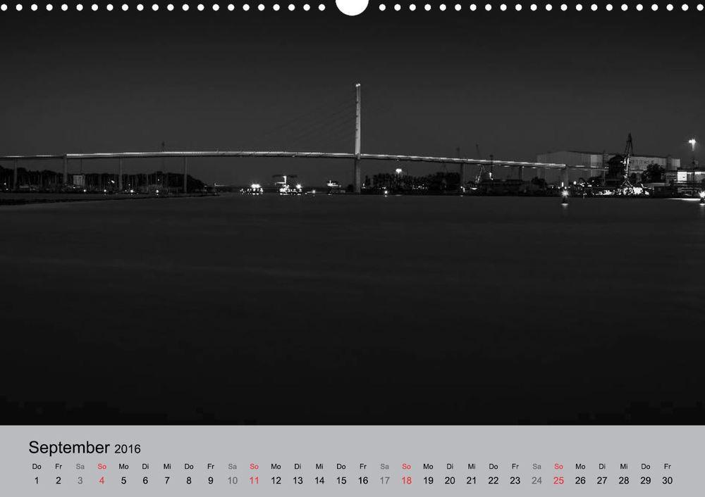 Kalender 2016 Hansestadt Stralsund bei Nacht September