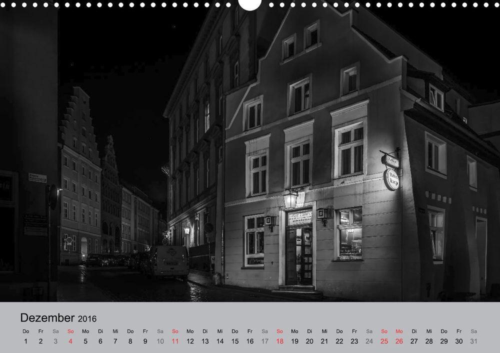 Kalender 2016 Hansestadt Stralsund bei Nacht Dezember