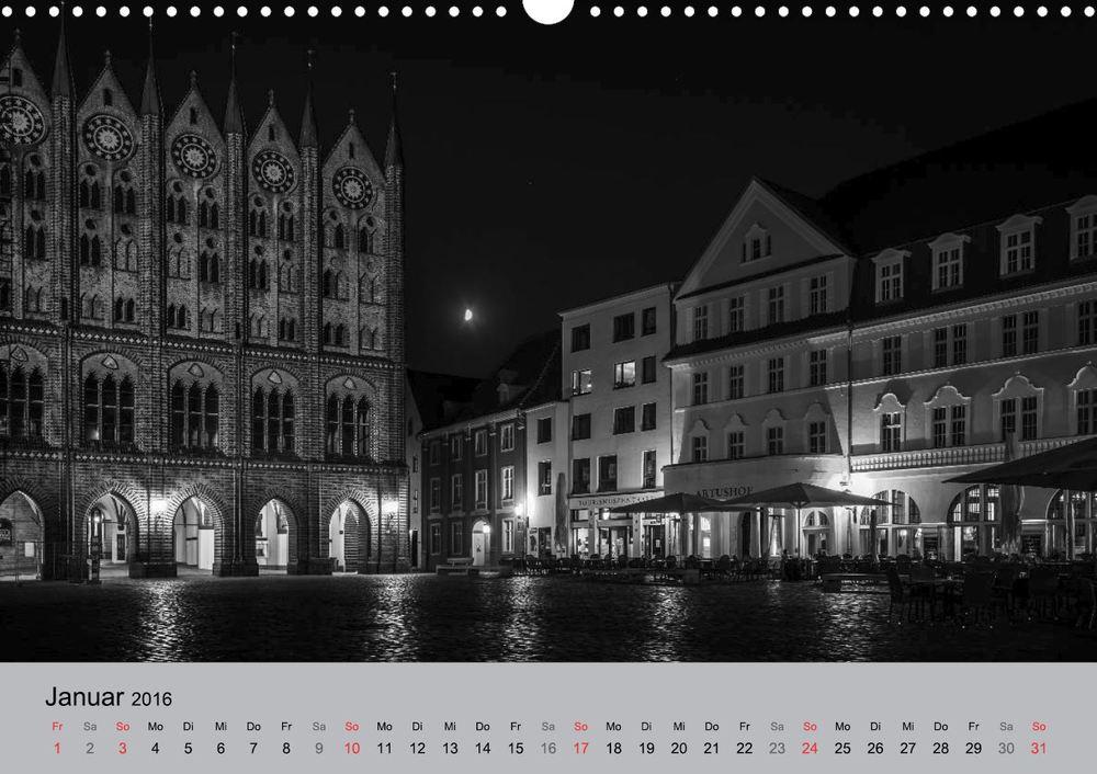 Kalender 2016 Hansestadt Stralsund bei Nacht Januar