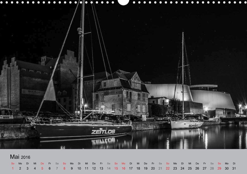 Kalender 2016 Hansestadt Stralsund bei Nacht Mai