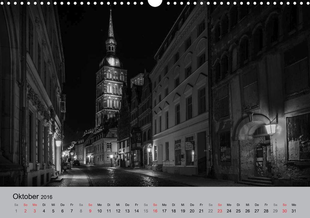 Kalender 2016 Hansestadt Stralsund bei Nacht Oktober