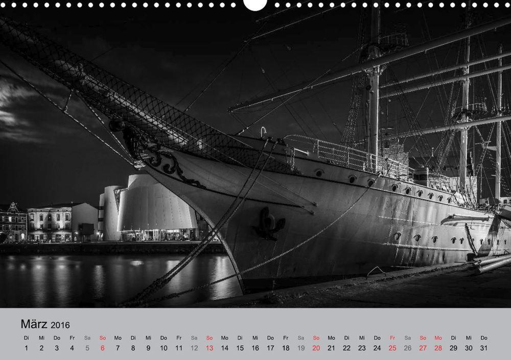 Kalender 2016 Hansestadt Stralsund bei Nacht März