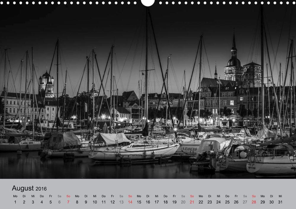 Kalender 2016 Hansestadt Stralsund bei Nacht August