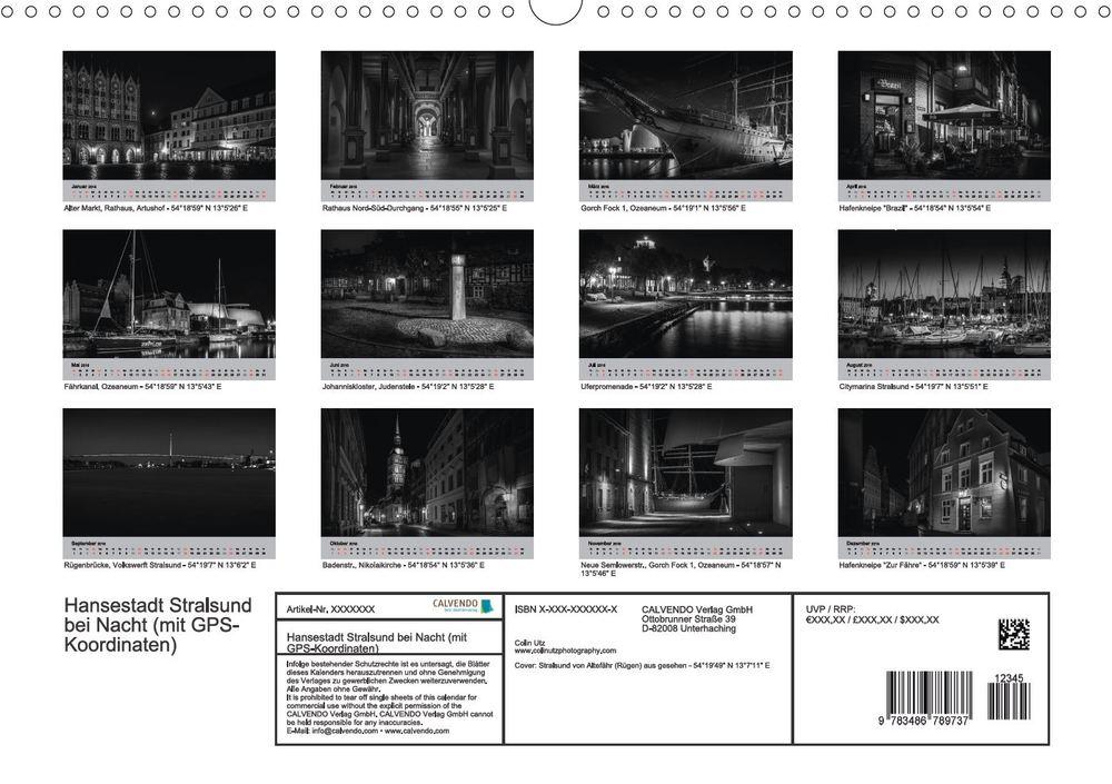 Kalender 2016 Hansestadt Stralsund bei Nacht Indexseite
