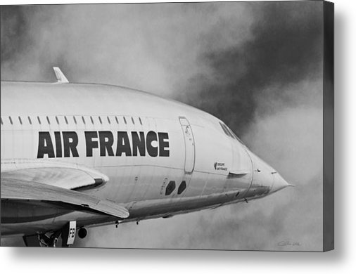 Aviation Icons - Air France Concorde In Black and White Canvas Print