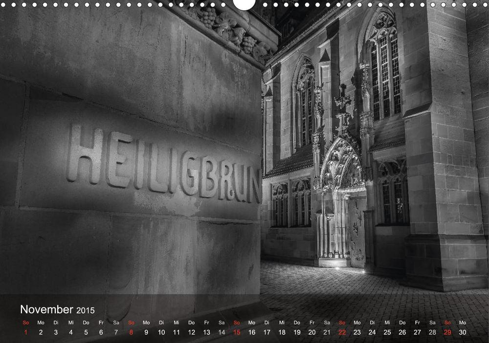 """Siebenröhrenbrunnen, Kilianskirche - Aus meinem Kalender """"Heilbronn bei Nacht"""""""