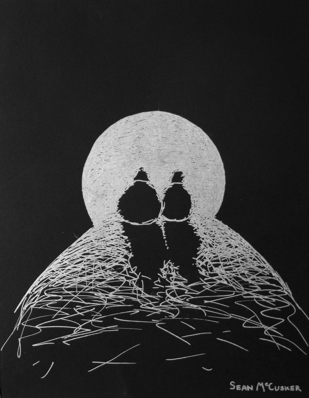 Into the Light • 16 x 13 • Silver marker on black paper • 200