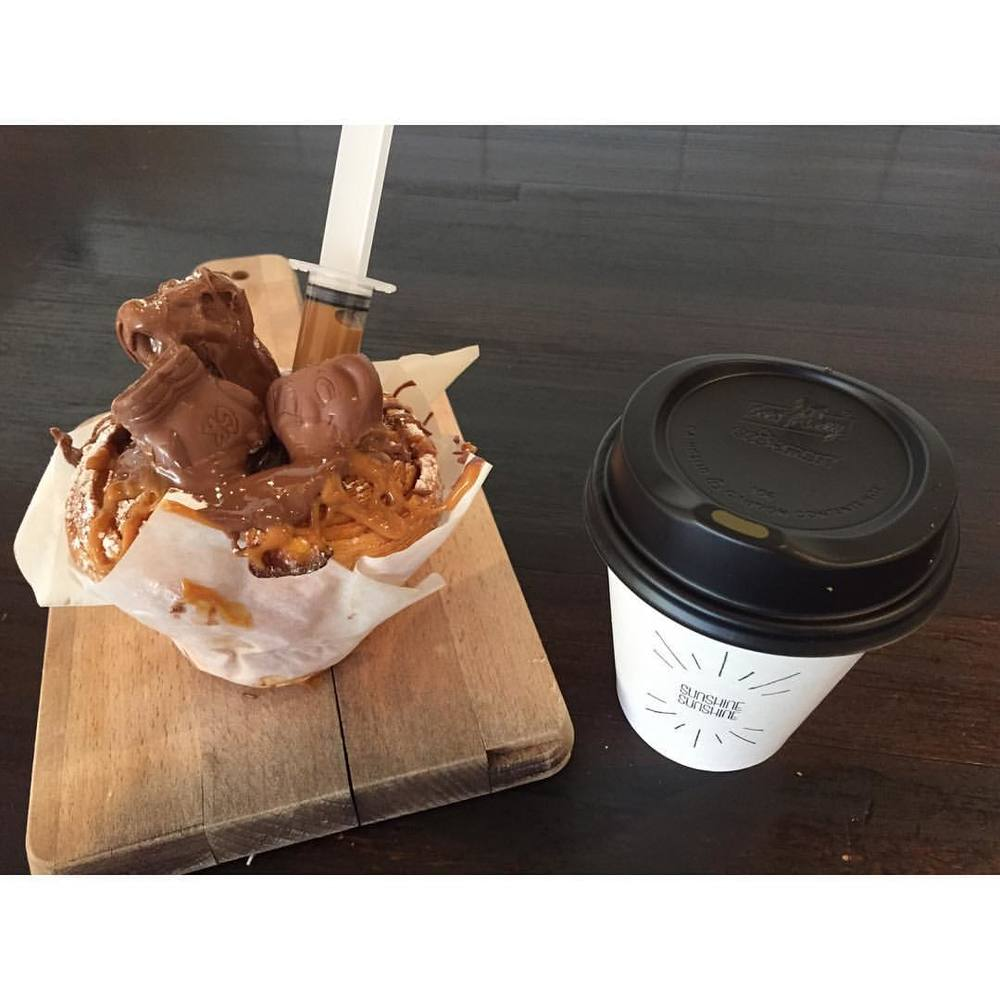 INJECTABLE CRUFFINS are back in today!     Choose from Choc Caramel Caramel w/ Caramel injectable (pictured), Nutella Milky Way w/ Nutella Injectable, Choc Picnic w/ Condensed Milk Injectable.     Our classic salted caramel, or lemon curd are also available. Located on Lomandra Drive, Currimundi  (at Sunshine Sunshine Espresso)
