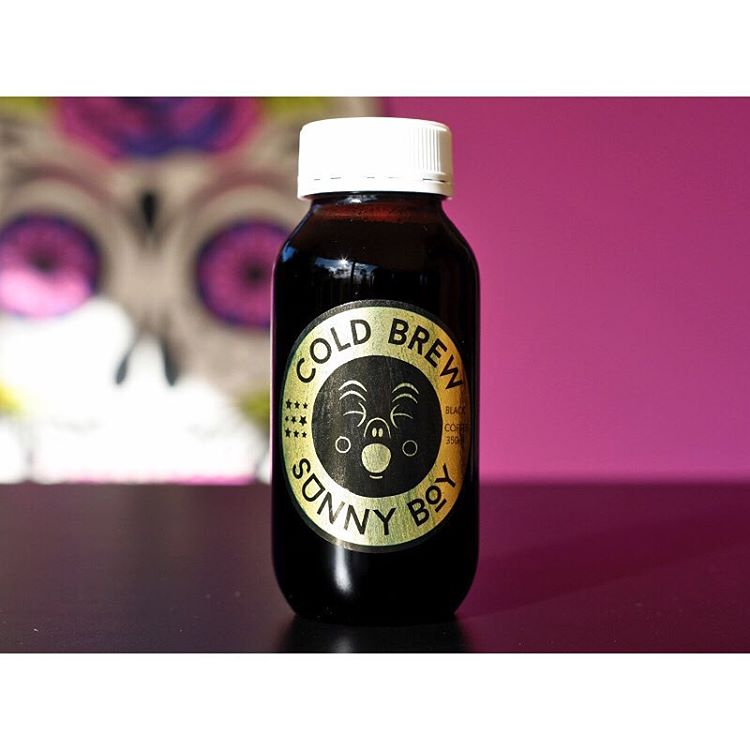 COLD BREW SUNNY BOY • BLACK •   Made from our super smooth Sunny Boy Original cold dripped over 5 hours, bottled in house daily.     Available white and lightly sweetened iced latte style also. (at Sunshine Sunshine Espresso)