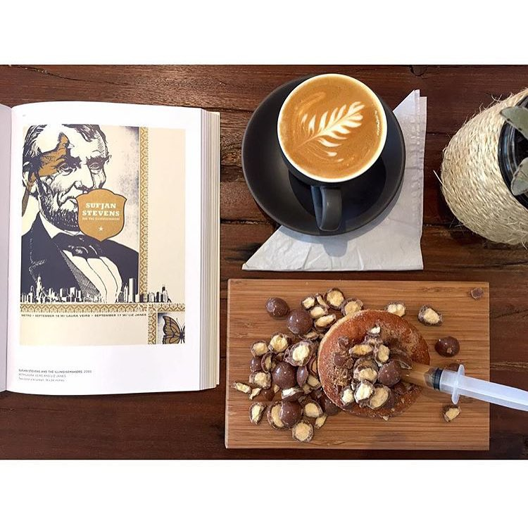 We are serving up coffee and injectables until 12 midday today. Pictured here is a Malteaser Caramel injectable, with a smooth Sunny Boy Original flat white. Peruse our big stack of art and design books while you enjoy Neighbourhood Park.