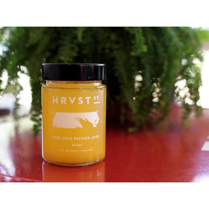 Refreshing @hrvst_st Cold Pressed Juices are in!     Available in 4 delicate flavours like this one; Orange, Pineapple, Lemon, Tumeric Root. Open 6am - 5pm.  (at Sunshine Sunshine Espresso)