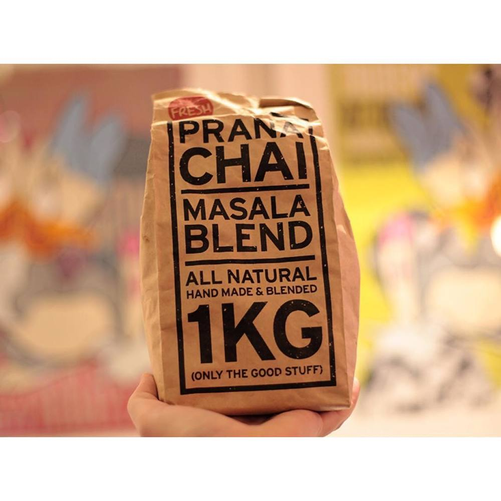 A big bag of Prana Chai Masala Blend getting a workout in this chilly weather. If you love your chai and haven't tried this stuff, ask for it in store. Only the good stuff indeed! (at Sunshine Sunshine Espresso)