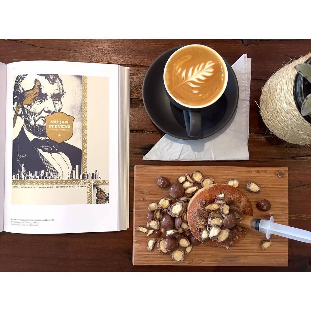 We are serving up coffee and injectables until 2pm today. Pictured here is a Malteaser Caramel injectable, with a smooth Sunny Boy Original flat white. Peruse our big stack of art and design books while you enjoy Neighbourhood Park.