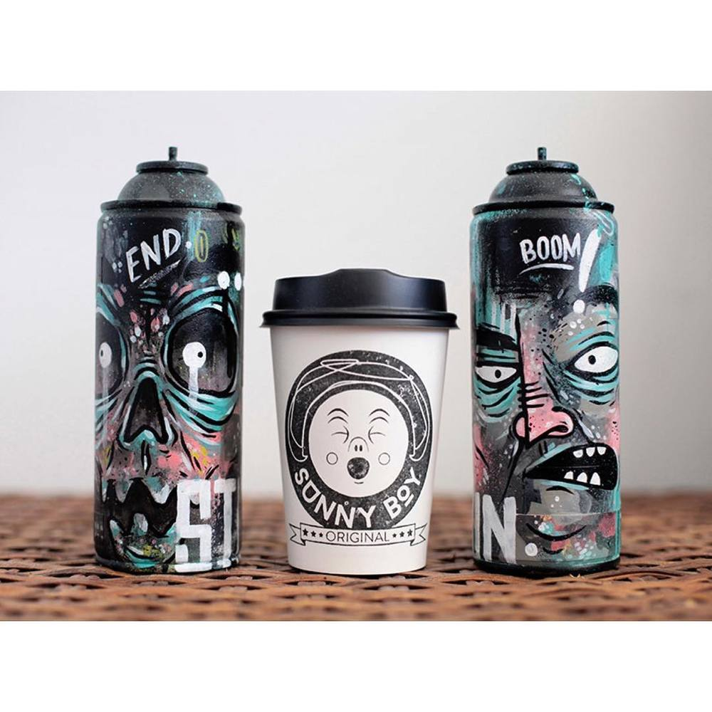 One delicious coffee and two amazing pieces of art! We are open from 7am - 12noon today. Our smooth Sunny Boy Original is in the grinder and we have a big batch of injectables available. Customised spray cans available through www.stupidkrap.com