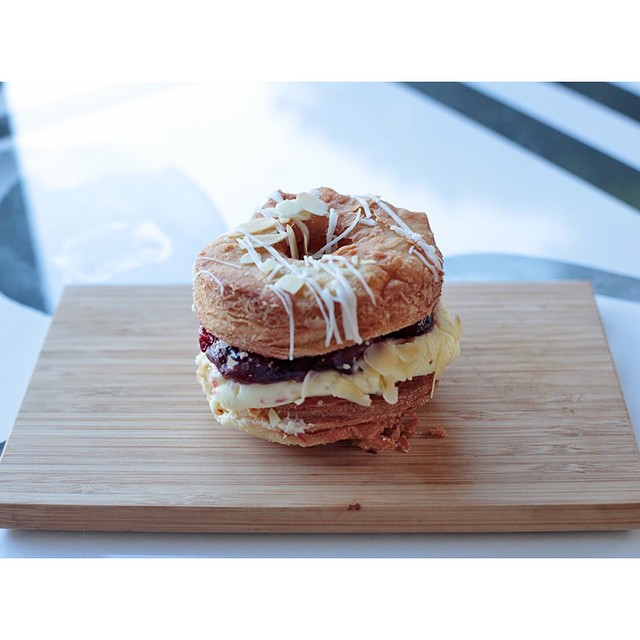 CRONUT SATURDAY preorders are now open! Simply private message us with your name, flavour, quantity and contact number.     Flavours are Sour Cherry Cheesecake (pictured) or Caramel Custard. We will only have cronuts for preorders so no preorder no CRONUT.     ANZAC hours are 7-10am.