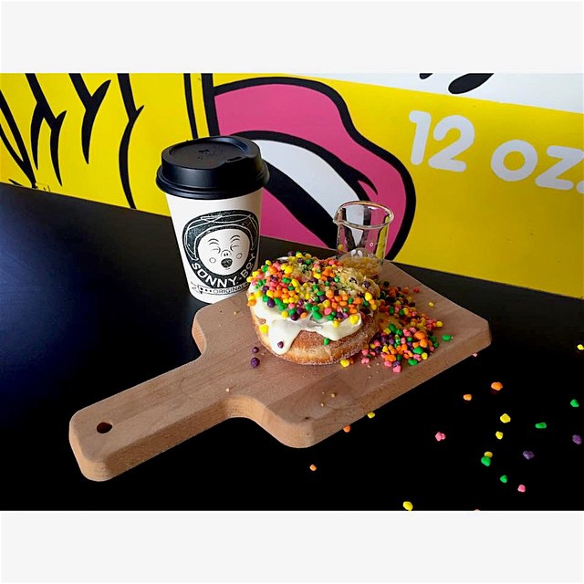 Today's specialty donut flavour is Vanilla Nerd PopRocks! Only a limited amount available today so come by early. Open 7-12. (at Sunshine Sunshine Espresso)