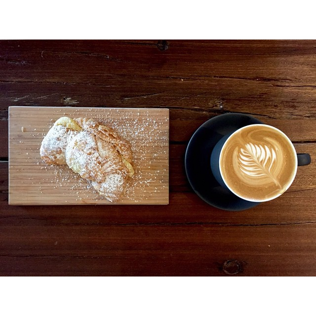 Oven fresh almond croissants are in. The perfect accompaniment to a cup of our super smooth Sunny Boy Original. Open 6-2.