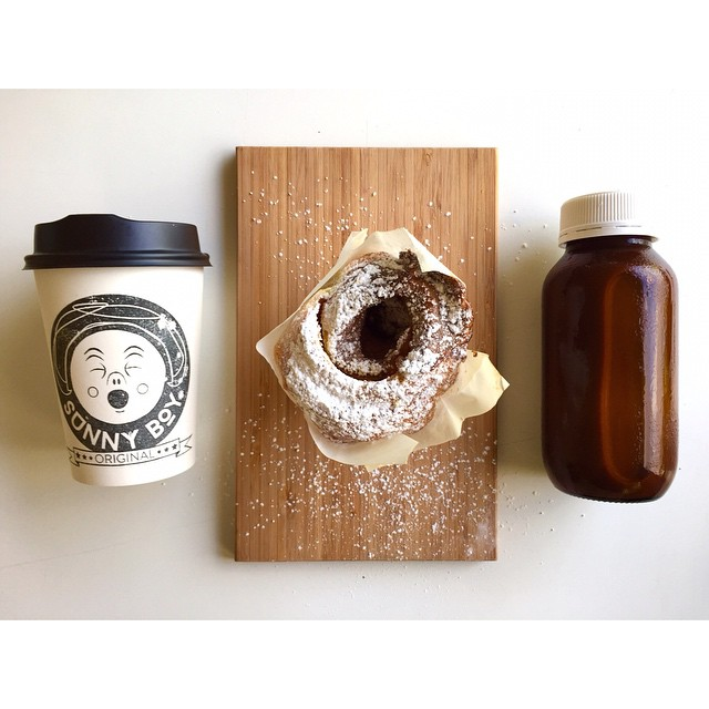 Sunny Boy Original, salted caramel cruffins, big gulp cold drip iced latte.     Injectable donuts are ready to rock with reeses pieces and caramel, m & m Nutella or honeycomb condensed milk!     Lomandra drive, Currimundi!     Open 6-2. Happy Monday legends!