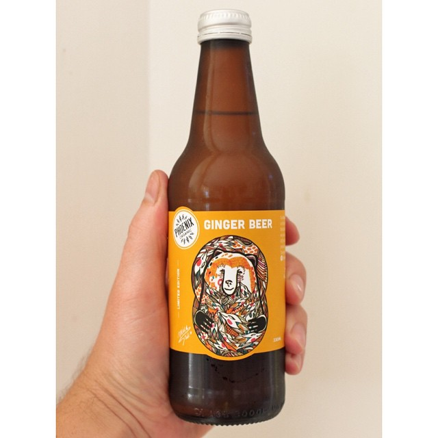 We keep a big range of chilled Phoenix Organics beverages to grab on the go.     Limited edition Ginger Beer label by one of our favourite artists Mica Still. You can buy her work from our friends at  www.stupidkrap.com
